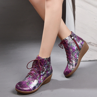 2019 VALLU autumn new genuine leather shoes ankle boots ethnic style print flower round toe comfortable soft wedge boots