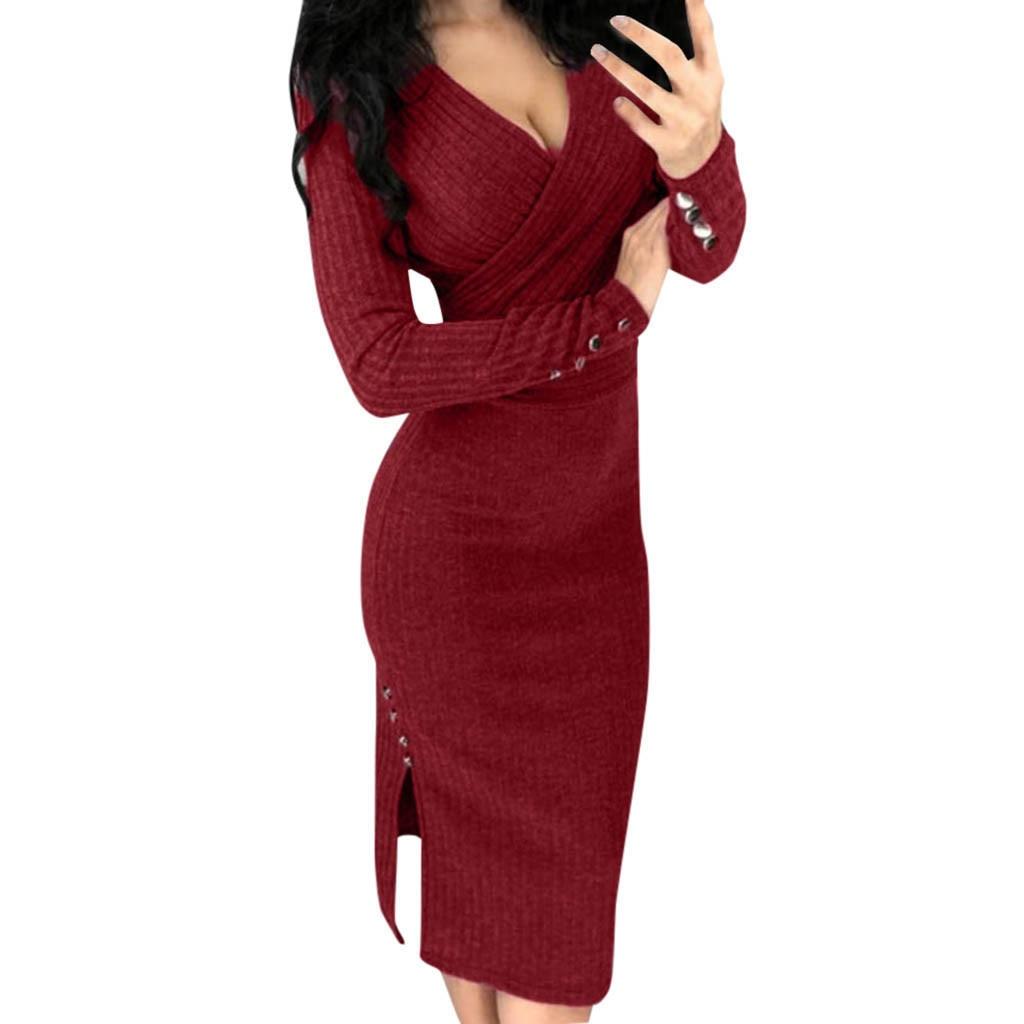 Women Dress Long Sleeve V Neck Solid Slim sexy Button Rivet dresses Empire Knee-Length Sheath Skinny Pencil Autumn dress F80