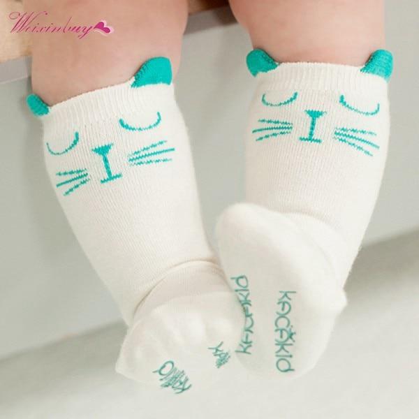Заводская цена! Милые детские носки Смешанный хлопок печатных милый кот Нескользящие мягкие носки для малышей От 0 до 4 лет