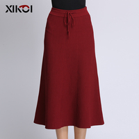 2018 XIKOI New Popular Style Work Skirts Winter Women Casual Solid Lace Up Knit Package Hip Skirt