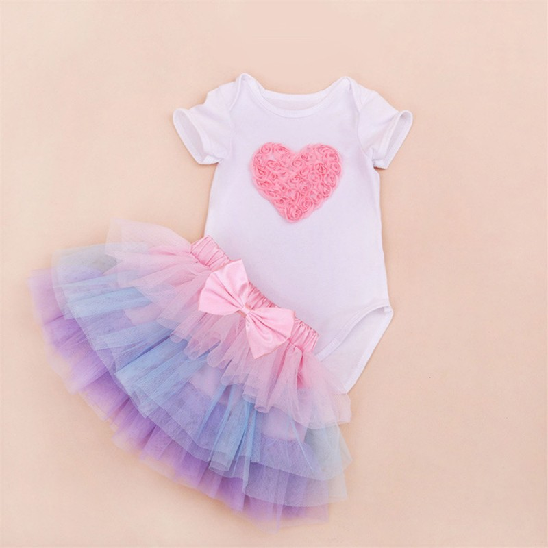 Tutu Baby Birthday Set Summer Short Sleeve Roupas Infantis Bebes 1st Birthday Outfit+Tutu Pettiskirt Dress Party Clothing Sets 12