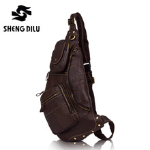 Designer New Vintage Chest Bag High Quality Daily Real Genuine Leather Chest Pack Cross body Single Shoulder Bag,Men waist pack