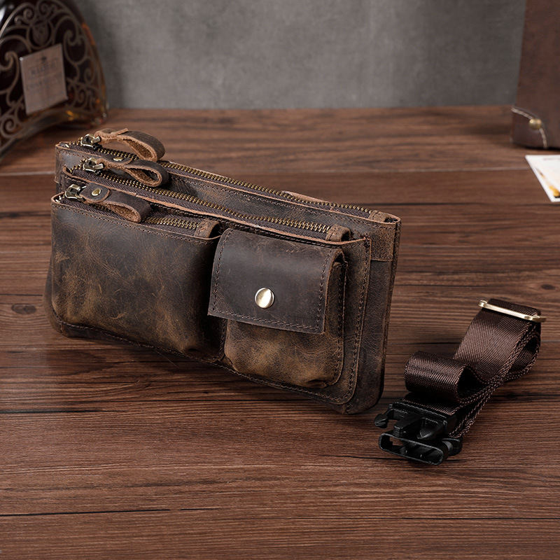 New Men Crazy Horse Cowhide Fanny Waist Pack Clutch Bum Bags Pouch Multi-Purpose Travel Geunine Leather Chest Hip Belt Bag