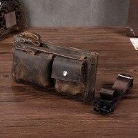 New Men Crazy Horse Cowhide Fanny Waist Pack Clutch Bum Bags Pouch Multi Purpose Travel Geunine Leather Chest Hip Belt Bag