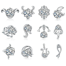 1 Pair Fashion Chic 12 Constellations Zodiac Sign Stud Earrings Sign Silver Plated Earrings For Woman Jewelry Accessories