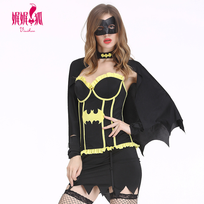 5pcs Halloween Batman Cosplay Costume For Adult Women Lady Sexy Dress With Cape Mask Carnival Party Female Fancy Bat Hero Suit