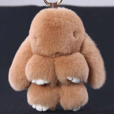 Venda quente 15 cm Ursos de pelúcia Chaveiro Coelho Rex Pele De Coelho Pompons chave Cadeia Saco De Pele Pom Pom Charme Pingente Anel Chave Do Carro titular