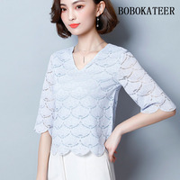 BOBOKATEER Blusas Feminina Ver O 2018 Shirt Women Blouses Plus Size Lace Blouse Summer Camisa Feminina