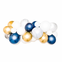 40pcs Agate Marble Balloons White Macaron Navy Blue Latex Balloon Gold Metal Garland Wedding Birthday Baby Shower Decor