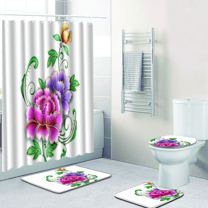 4pcs/lot shower Curtain Waterproof Polyester Fabric Bath Curtain For The Bathroom Decorate With Bathroom toilet rug