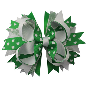 Image 3 - 6pcs  St. Patrickday green Funny Clover Faux hairgrips Hair Bows Grosgrain Ribbon For Girls Hair Accessories Boutique gifts