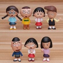 7 pçs/lote 5 CM clássico Japonês figura anime Chi-bi Maruko figura de ação conjunto collectible modelo brinquedos para meninas