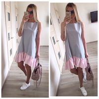 Summer Dresses 2017 Women Casual Loose Patchwork Sleeveless Ruffles O Neck Mini Beach Dress Plus Size