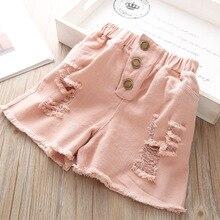 Summer New Girls Korean Denim Shorts For Girl Baby Childrens Supermarket Clothes Jeans Solid Pocket Short Pant high quality 3yrs