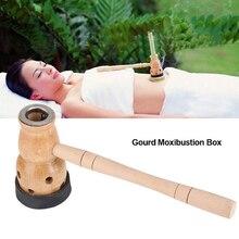 1 set Wooden Gourd Moxa Mugwort Moxibustion Box Gourd Device Massage Burner Roll Set Wormwood Artemisia Acupuncture Moxa