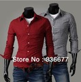 Elegant mens cotton slim fit long sleeve plaid/check casual shirts for men QR-2032