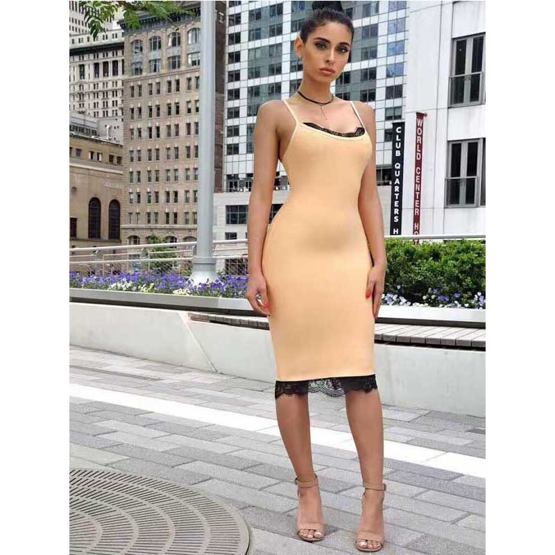 2017 Summer fashion sexy Orange V Neck Lace Bangdage Dress balkless Spaghetti strap knee-length dress bodycon celebrate party