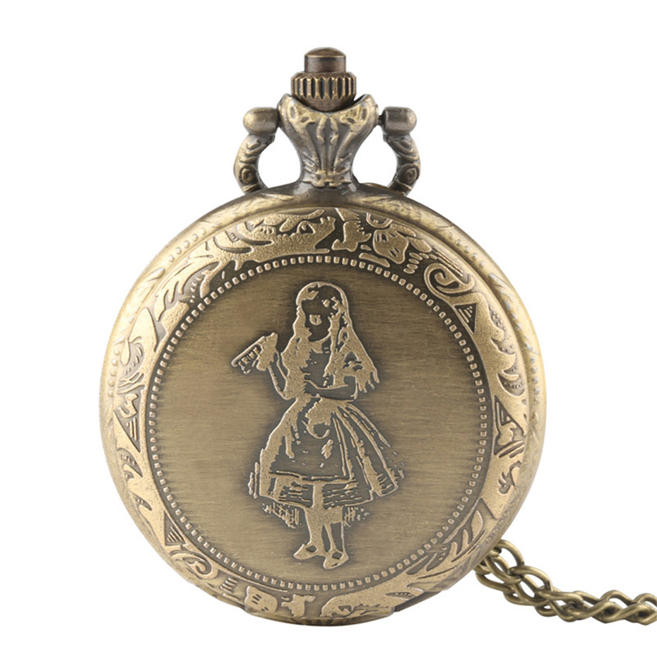 Vintage Real Glass Alice In Wonderland Watches Drink Me For Wishing Bottle Quartz Pocket Watch Necklace Reloj De Bolsillo Clock