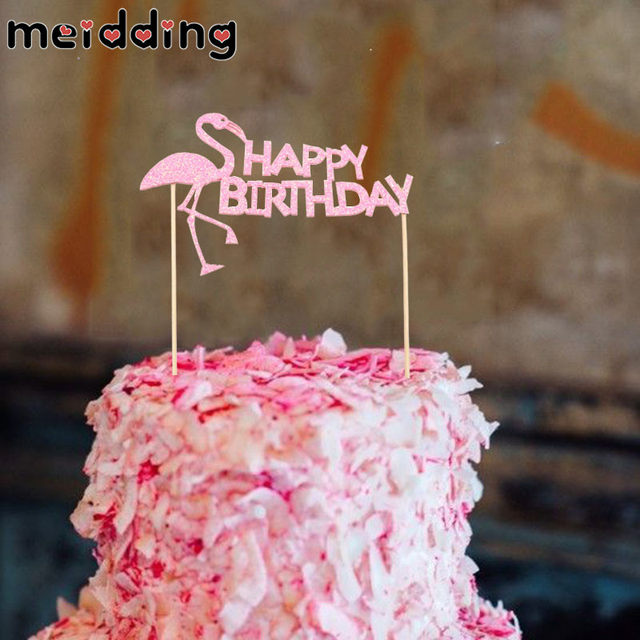 Online Shop Meidding 1pcs Pink Flamingo Birthday Cake Topper Baby