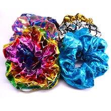 6 шт./упак. с сияющими блестками металлических воздушных шаров с большой Scrunchies Для женщин Танцы булочка резинки для волос веревки для Для женщин аксессуары PT098