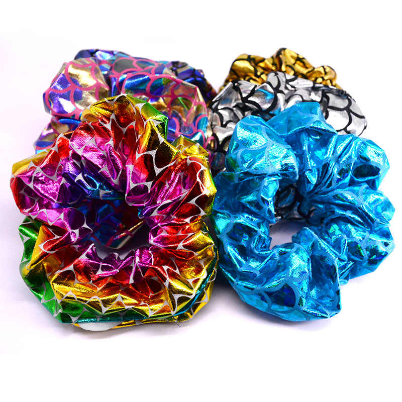 6 Pcs/Pack Glitter Bling Metalic Large Scrunchies Women Dancing Bun Hair Ties Ropes for Women Accessories PT098
