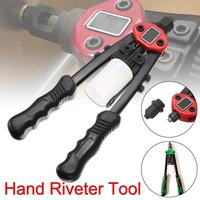 11 Inch Pop Heavy Duty Double Hand Riveter 5 In 1 Pneumatic Sets Riveter Head Riveting Nut Tools 2.4/ 3.2/ 4.0/ 4.8mm