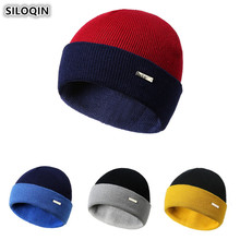 SILOQIN Unisex Novelty Personality Double-sided Mashup Beanie Hats For Men Women Ski Cap Autumn Winter Fashion Yarn Knitted Hat