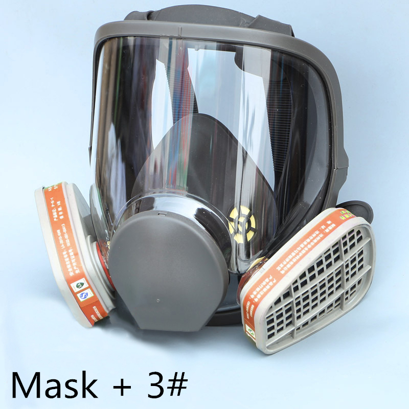FGHGF 6800 Gas Mask add 3# 4# Cartridge suit Full Face Facepiece Respirator For Painting Spraying Hot Sale 9 in 1 suit gas mask half face respirator painting spraying for 3 m 7502 n95 6001cn dust gas mask respirator