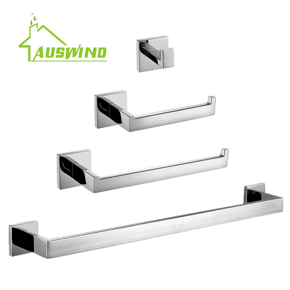 AUSWIND stainless steel chrome finish bathroom hardware set 4 items towel bar towel ring paper holder robe hook Modern Bathroom high quality bathroom accessories stainless steel black finish towel ring holder