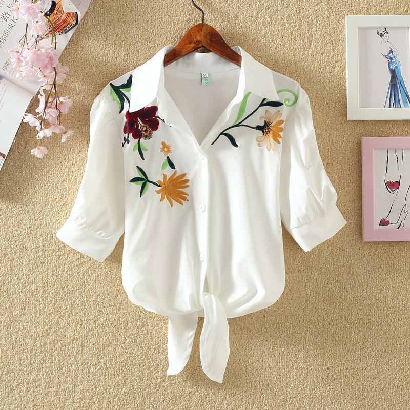 TuangBiang 2018 Half Sleeve Summer Embroidery Shirt Women Floral Corp Top Blouse Blue White Rose Plum Striped Lace Up Loose Tops