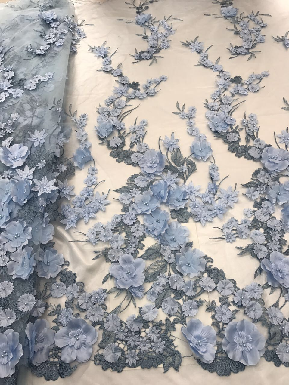 3d flower african french lace fabric with beads 5yards LJY 41818 1 african tulle lace fabric