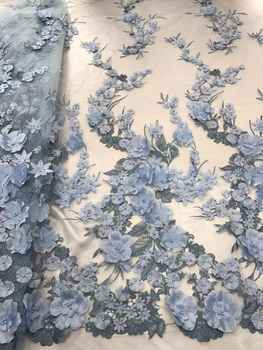 3d flower african french lace fabric with beads 5yards LJY-41818-1 african tulle lace fabric - DISCOUNT ITEM  41 OFF Home & Garden