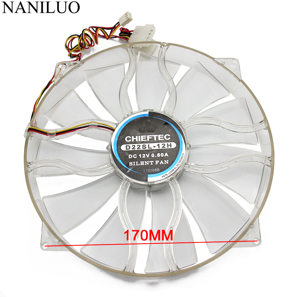NANILUO New  D22SL-12H 12V 0.6A 22cm 22030 Chassis Fan Quiet Side Of The Chassis Big Fan 22cm Diameter Blue Light Fan