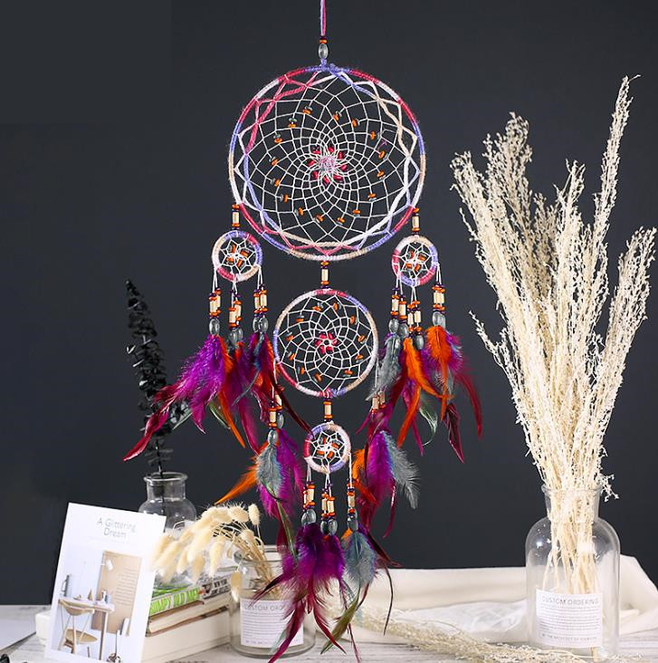 Feather Crafts Dream Catcher Brown Wind Chimes Handmade Indian Dreamcatcher Net For Wall Hanging Home Decoration