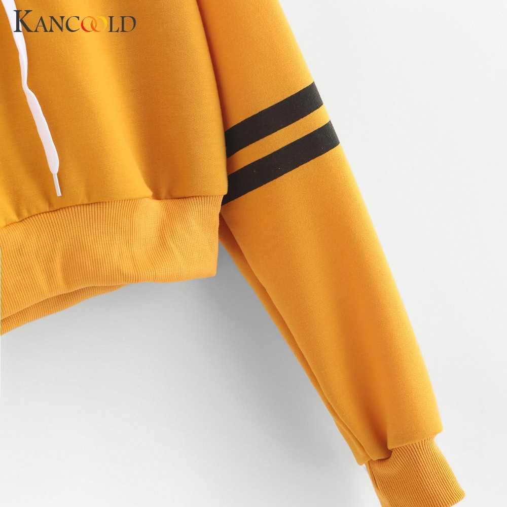 KANCOOLD Топ Футболка женская Университетская полосатая шнурок короткое худи Топ джемпер укороченный пуловер Мода Новый Топ femme 2019FEB4