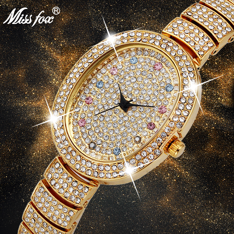 MISSFOX 30mm Small Womens <font><b>Watch</b></font> Elegent Colorful Lab Diamond Ladies Fashion <font><b>Watches</b></font> Famous Brand Gold <font><b>Bu</b></font> Female Wristwatches image