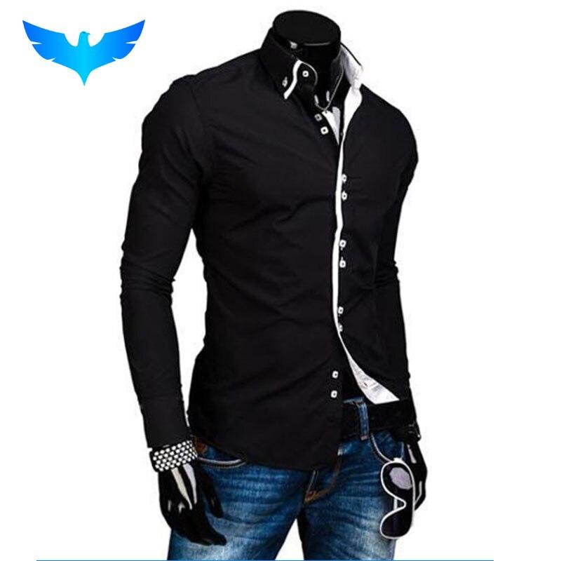 Camisa de hombre de marca de lujo 2018 camisas de manga larga para hombre Casual sólido Multi-Button Hit Color Slim Fit camisas de vestir para hombre Hawaiano XXXL