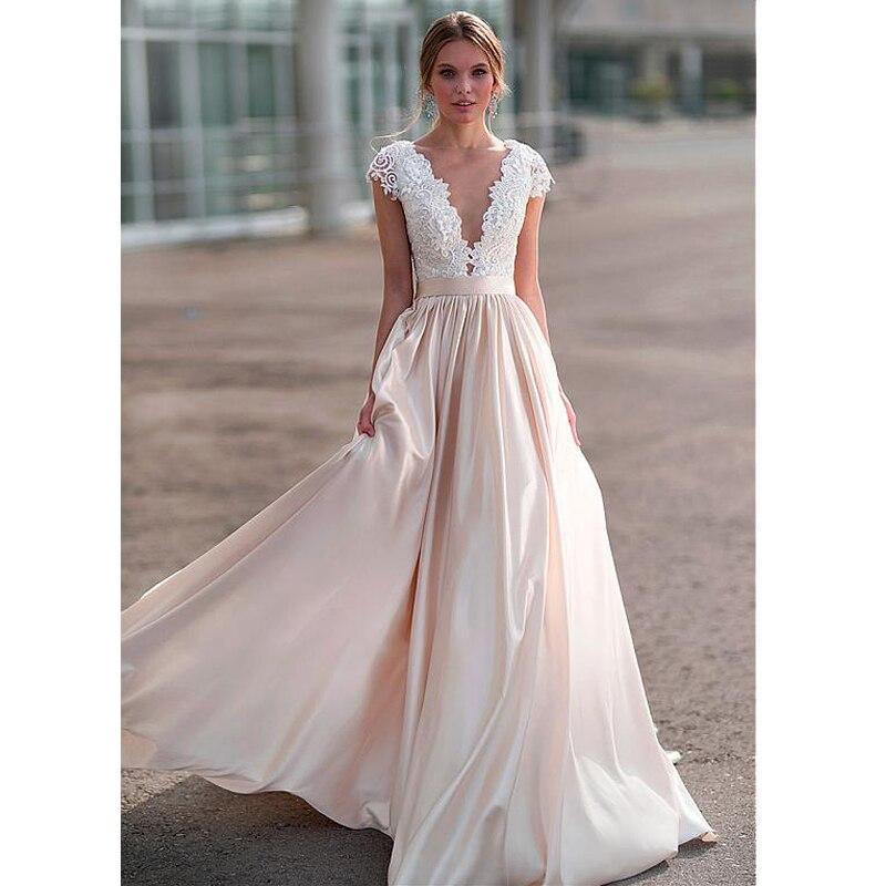 SoDigne Lace Appliques Wedding Dresses 2018 New Design Illusion Back Bride Dress Long Train Dress White/Lvory