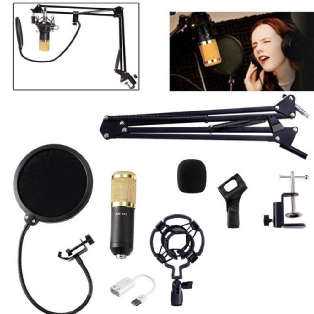 Condenser Audio 3.5mm Wired BM800 Studio YouTube Microphone Vocal Recording Live Microphone Mic W/Stand for Computer image