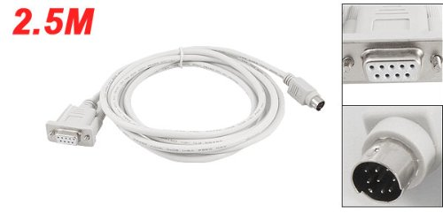GTFS-Hot DB9P to 8P Mini Din RS232 Cable White 8.2 Ft for PLC DVP-EH