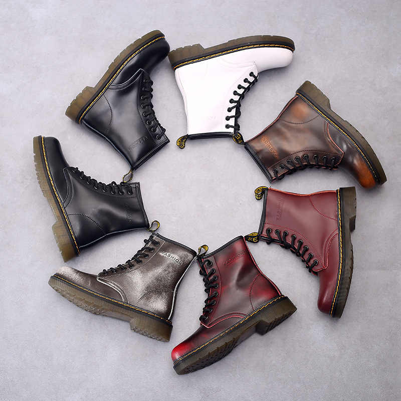 Careaymade, 2019 neue winter weibliche schuhe Aus Echtem leder stiefel Britischen stil, mode Stiefel, 7 farben und die dicke von zwei wea