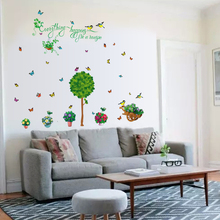 SK7083 Green home fresh potted wall stickers living room decoration self-adhesive bathroom plant glass stickers high quality fresh green potted shape removeable wall stickers