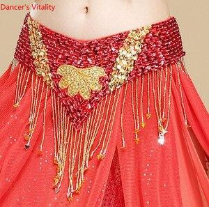 Image 4 - Oryantal dans kemer el yapımı çiçek Shining Sequins cıngıllı şal altın mor kırmızı mavi siyah ücretsiz kargo