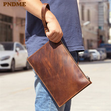 PNDME simple vintage genuine leather mens clutch bag casual business party high quality crazy horse cowhide large phone
