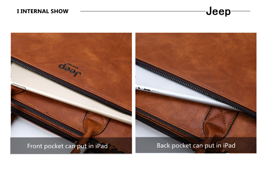 JEEP BULUO Brand High Quality 14 inch Laptop Business Bags Men Briefcases Set For Handbags Leather Office Large Capacity Bags
