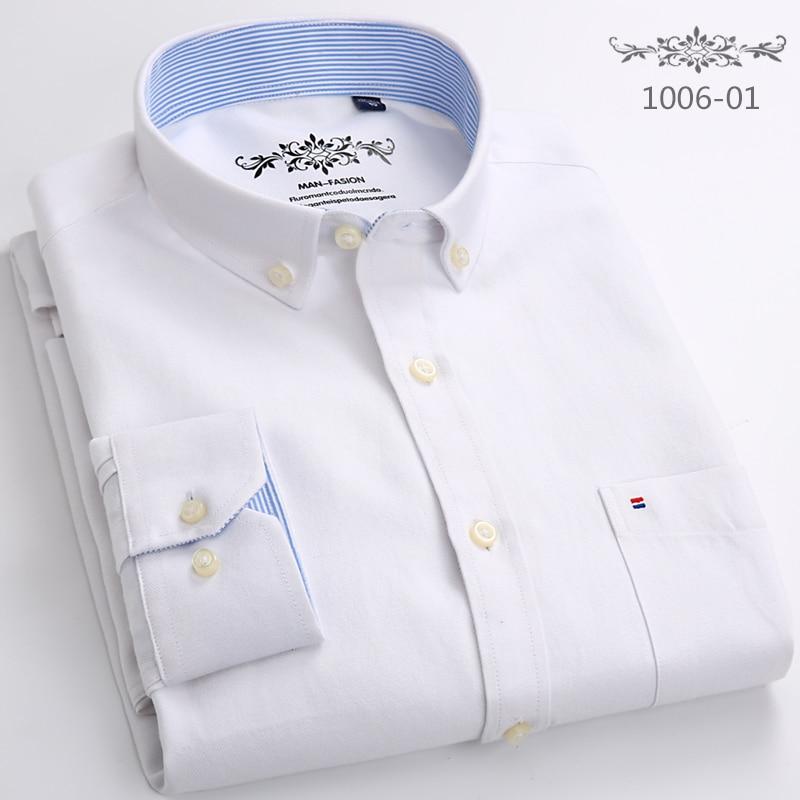 2019 Cotton Oxford Shirt New Men Casual Shirts Long Sleeve Mens High Quality Slim Fit Dress Shirts