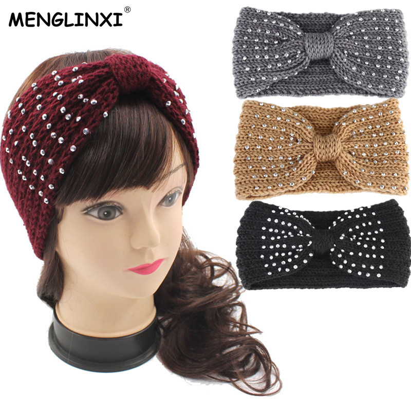 2019 New Winter Warmer Ear Knitted Headband Bow Rhinestone   Headwear   For Women Girls European Solid Turban Hair Band Head Wrap