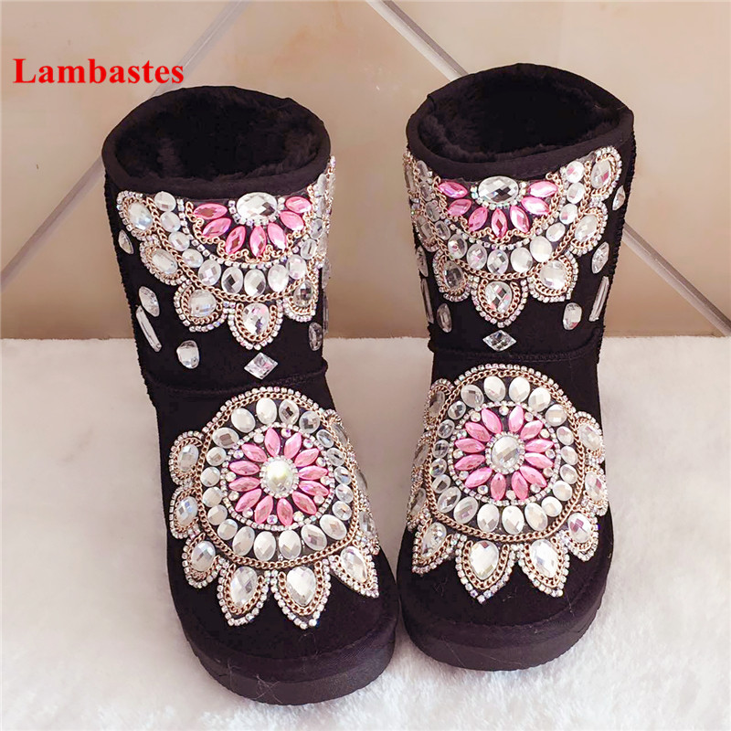2018 Winter Warm Snow Boots Women Black Crystal Embellished Chain Slip On Botas Ankle High Plush Flock Flats Boots Shoes Mujer women shoes wedges platform knee high boots winter snow booties slip on flock rubber women boots black plush warm soft shoes