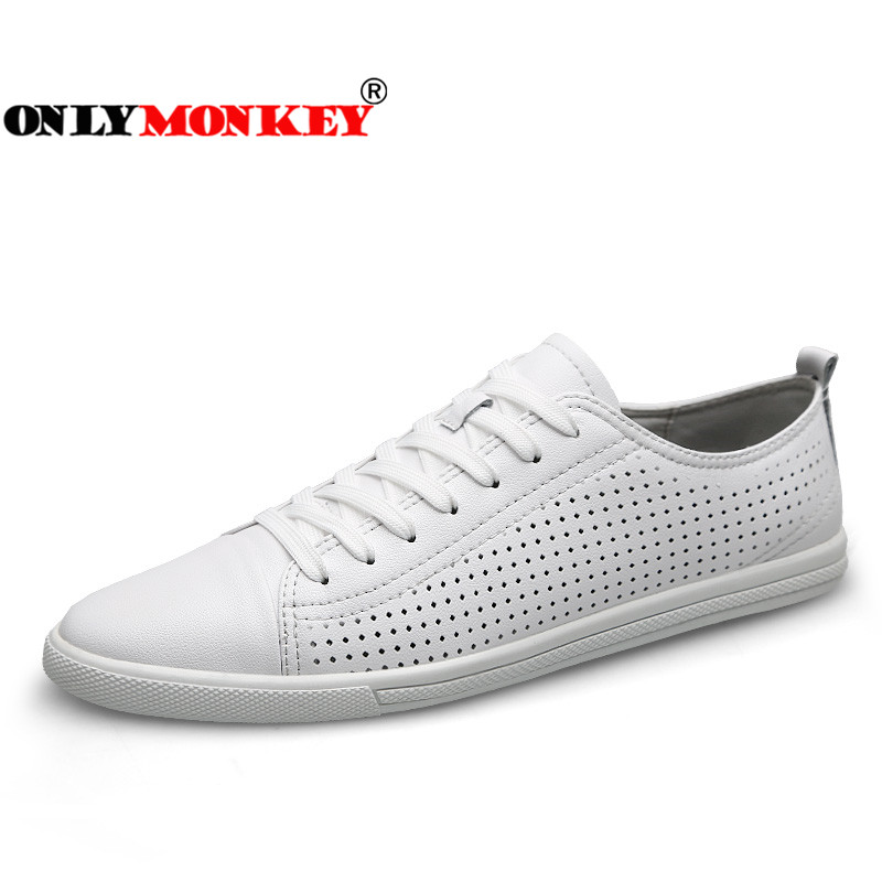 ONLYMONKEY 2018 New Design Breathable Leather Sneakers Outdoor Soft Men Walking Shoes Lace Up Non slip