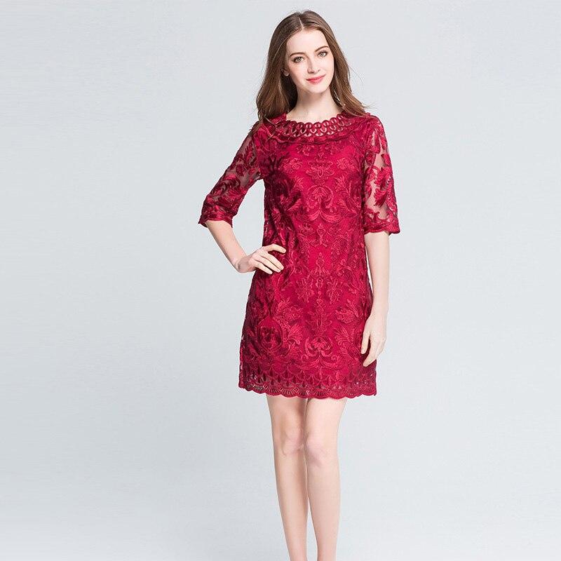 Frauen rote Spitze Stickerei Plus Size Kleider Herbst elegante große - Damenbekleidung - Foto 4